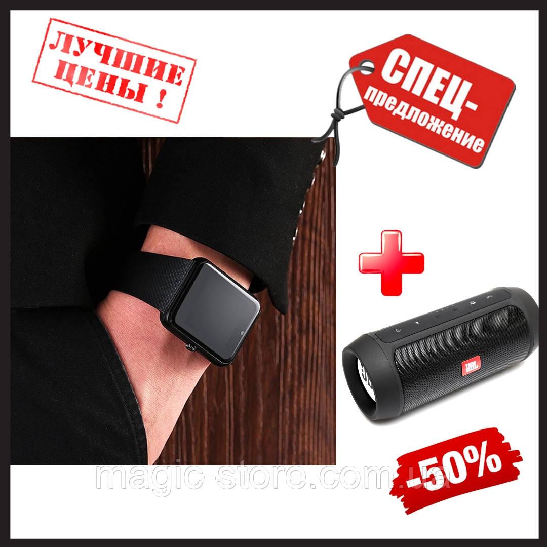 Смарт годинник GT08 Smart watch Black ( чорний ) розумні годинник + Портативна колонка у Подарунок