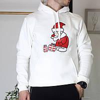 Теплая мужская однотонная кофта-худи Дед Мороз и лето белая