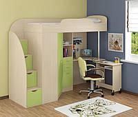 Дитяче ліжко-горище Art-In-Head ШЕРВУД АЛД-14 дуб сонома+зелена хвиля