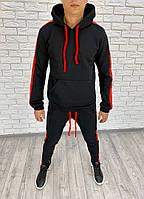 Мужской теплый спортивный костюм-двойка с лампасами (Черный с красным)