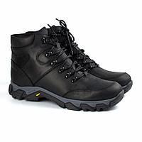 Зимние черные кожаные ботинки на овчине мужская обувь Rosso Avangard Pro Lomerflex Black Crazy, фото 1