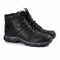 Зимові чорні шкіряні трекінгові черевики на овчині чоловіче взуття Rosso Avangard Pro Lomerflex Black Crazy