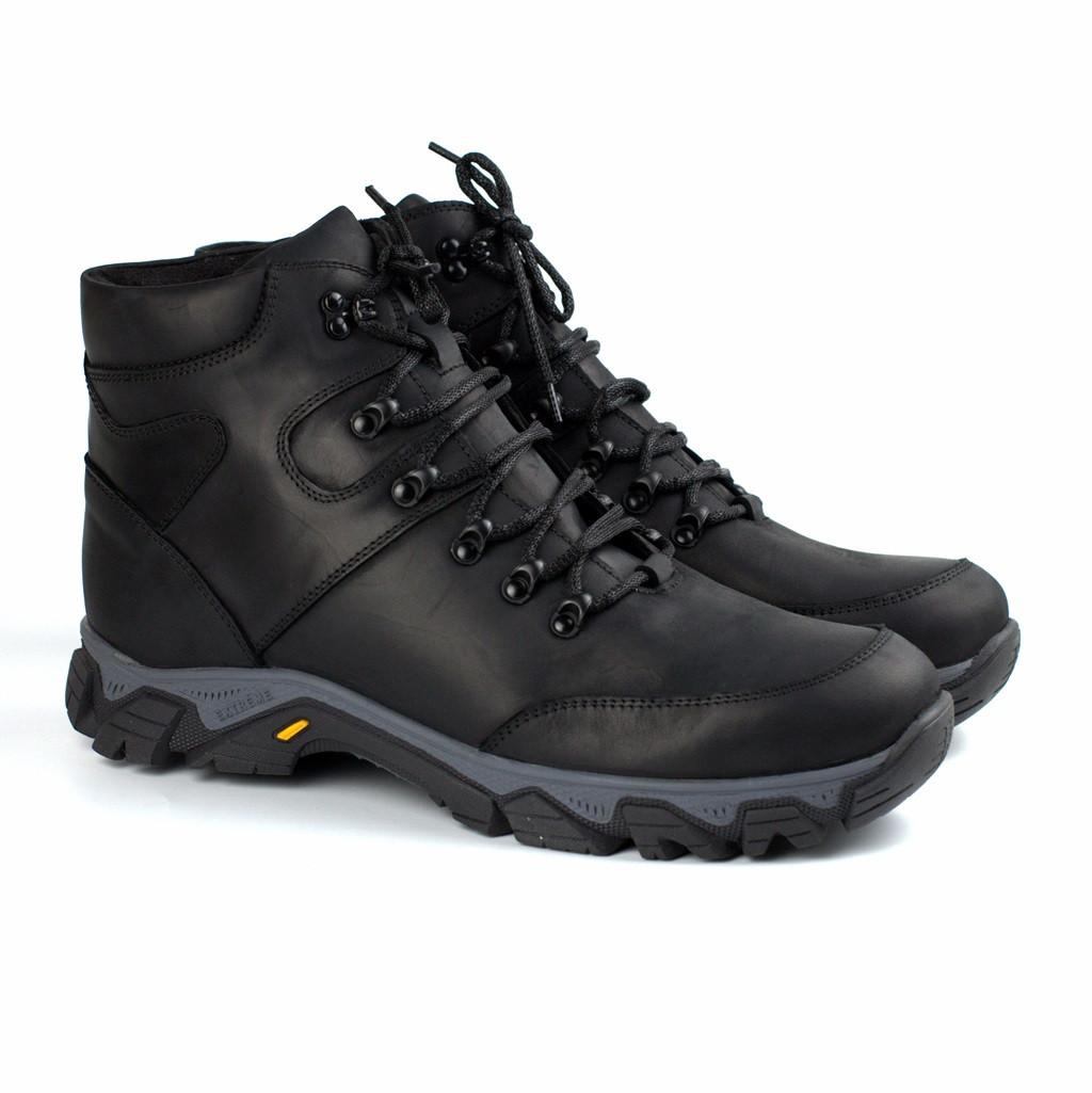 Зимние черные кожаные ботинки на овчине мужская обувь Rosso Avangard Pro Lomerflex Black Crazy