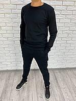 Мужской теплый спортивный костюм-двойка (Черный)