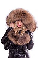 Женский зимний комбинезон с варежками, натуральный густой широкий мех енот съемный, фото 1