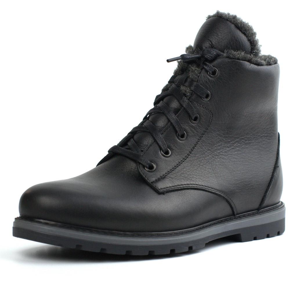 Черевики зимові на овчині шкіра чорні утеплені чоловіче взуття Rosso Avangard Whisper Wool Led