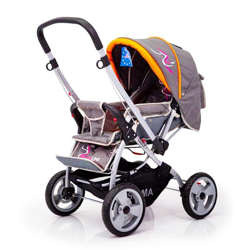 Детская прогулочная коляска с перекидной ручкой Sigma H-538EF Grey-Orange