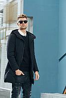 Зимняя мужская удлиненная черная куртка с капюшоном