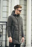 Зимняя мужская удлиненная куртка с капюшоном цвет хаки