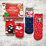 Новогодние махровые женские носки набор 4 пары, фото 3