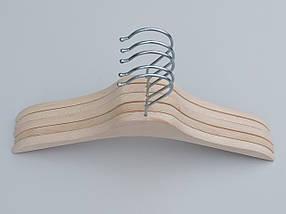 Плечики вешалки тремпеля деревянные ECO светлые, длина 32,5 см, в упаковке 5 штук, фото 2