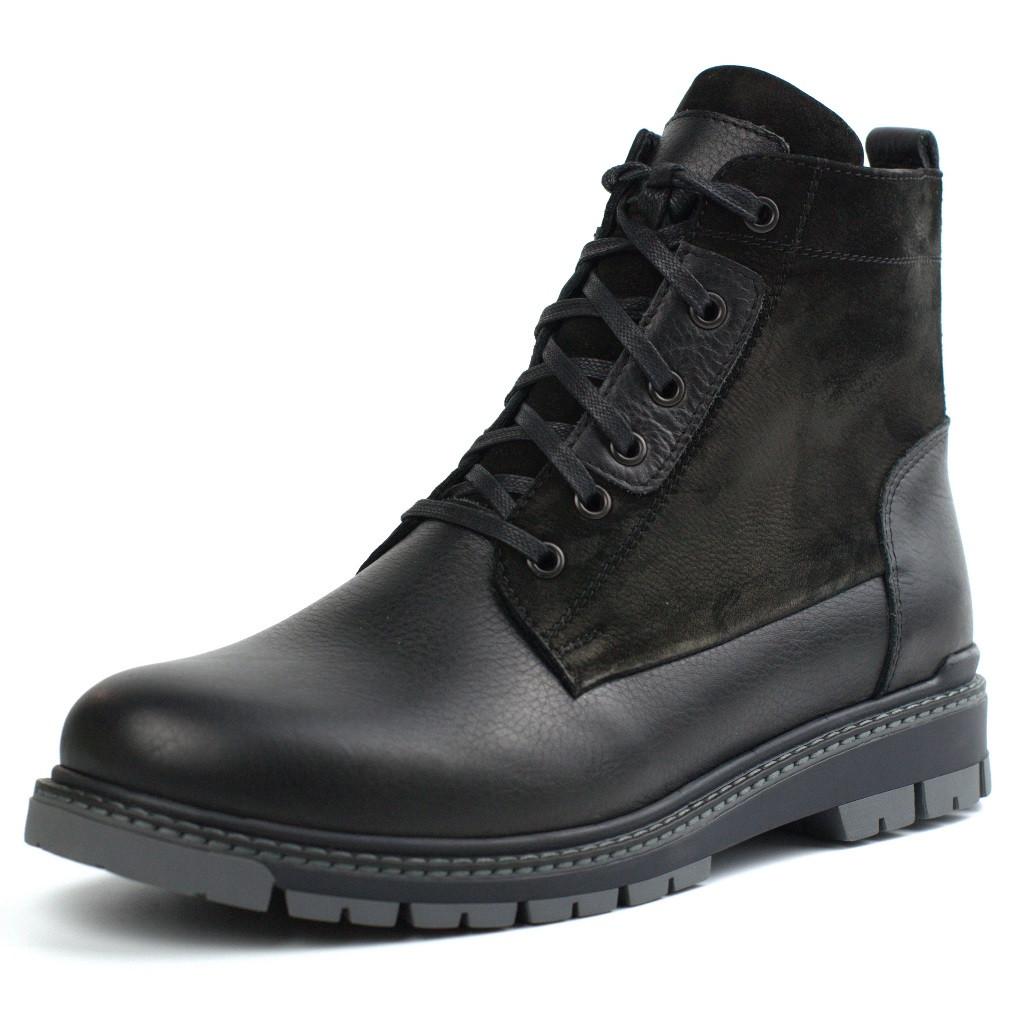 Ботинки на овчине кожа черные широкая стопа мужская зимняя обувь Rosso Avangard Whisper 2 Modern