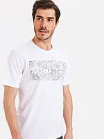 Белая мужская футболка LC Waikiki / ЛС Вайкики с лиственным принтом Stay Natural, фото 1
