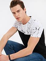 Черная мужская футболка LC Waikiki / ЛС Вайкики с белым мраморным принтом