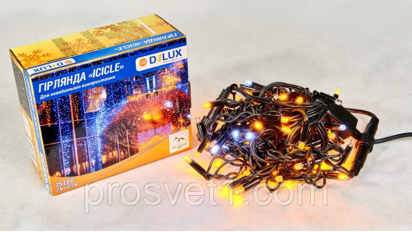 Гирлянда уличная DELUX ICICLE 75 LED бахрома 2x0,7m 18 белый flash желтый/черный IP44 EN