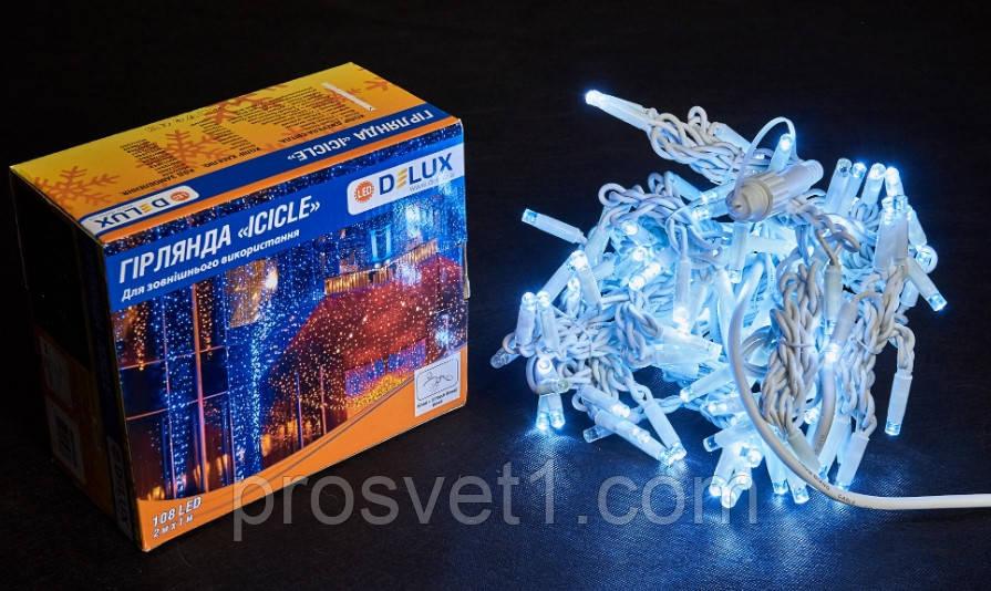 Гирлянда уличная DELUX ICICLE 108 LED бахрома 2x1m 27 flash белый/белый IP44 EN