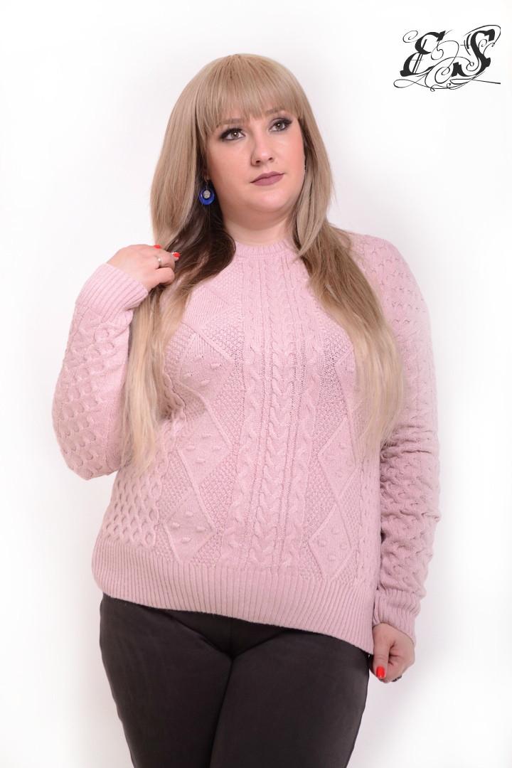 Женский свитер батал из кашемира с узорами 52-58 р