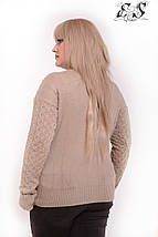 Женский свитер батал из кашемира с узорами 52-58 р, фото 3