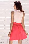 Короткая юбка из плиссированной ткани коралловая, фото 4