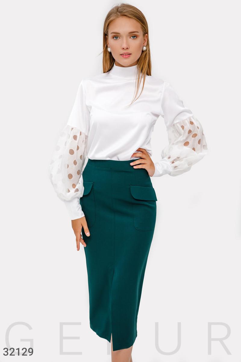 Приталенная юбка-миди зеленая