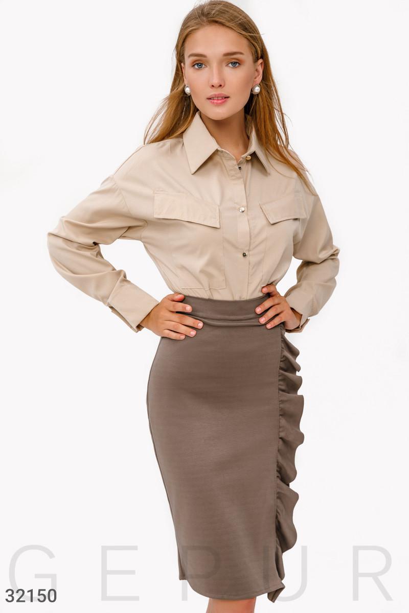 Трикотажная юбка-миди с рюшами светло-коричневая