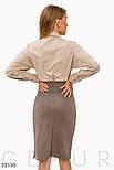 Трикотажная юбка-миди с рюшами светло-коричневая, фото 3