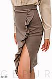 Трикотажная юбка-миди с рюшами светло-коричневая, фото 4