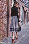 Расклешенная теплая юбка-миди, фото 5