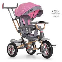 Велосипед M 4058-15  (1шт)три кол.резина (12/10),колясочн,поворот,регул.руля,свет,нежно-роз
