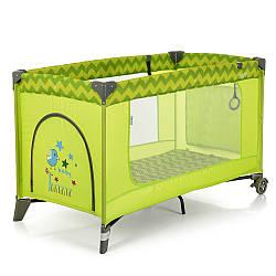 Манеж ME 1016 SAFE Green Zigzag (1шт) детский,2колеса,вход-змейка,карман,кольцо2шт, зеленый