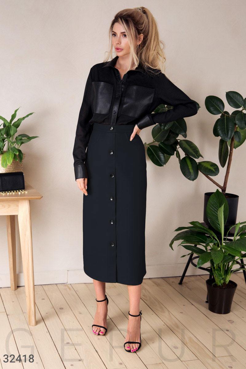 Длинная юбка-миди на пуговицах спереди