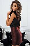 Короткая юбка-трапеция из экокожи, фото 2