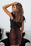 Короткая юбка-трапеция из экокожи, фото 3