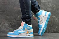 Мужские зимние кроссовки в стиле Nike Air Jordan, белые с голубым 42 (26,5 см)