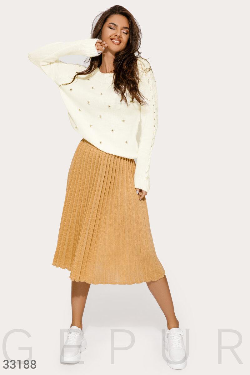Вязаная плиссированная юбка-миди бежевая