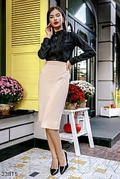 Трикотажная юбка-карандаш с разрезом сбоку бежевая