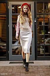 Трикотажная юбка-карандаш с разрезом сбоку серая