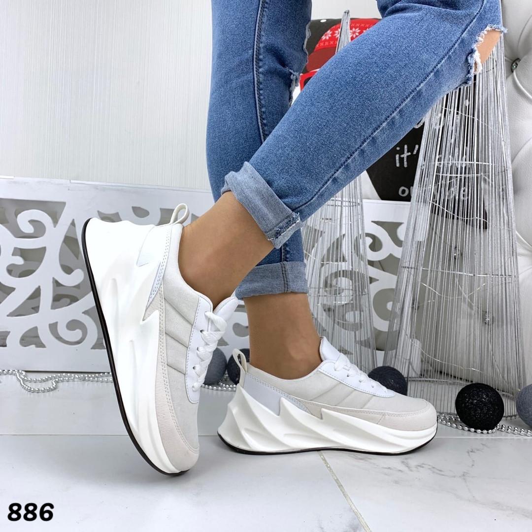 Кроссовки женские белые под бренд 886