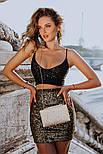 Блестящая короткая юбка-мини с двухсторонней пайеткой, фото 3
