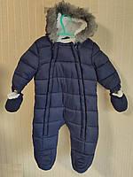 Комбинезон детский зимний меховый синий F&F (Размер 68 (3-6 мес, 8 кг))