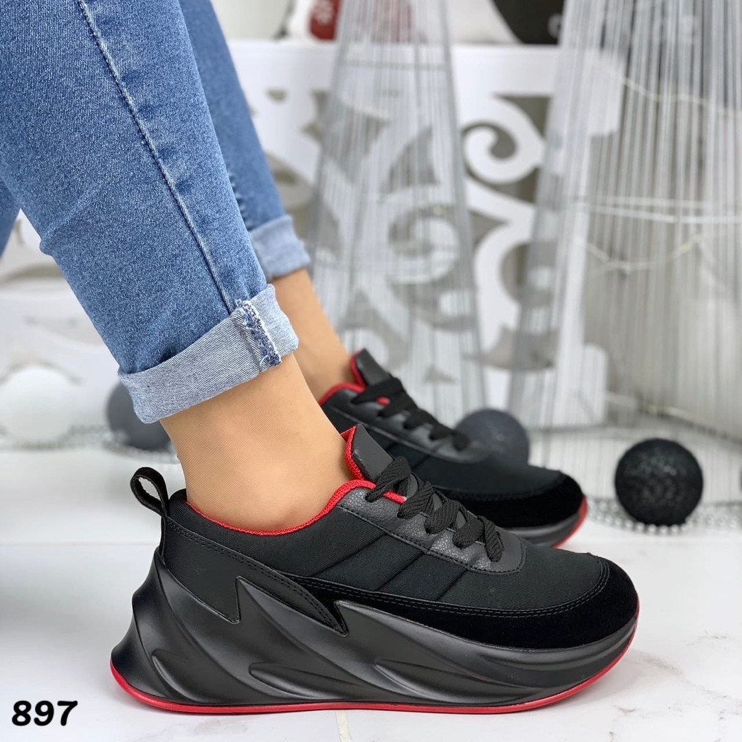 Кроссовки женские черные под бренд 897
