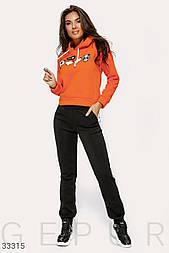 Теплый повседневный костюм оранжево-черный