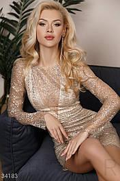Короткое приталенное платье-футляр с блестками