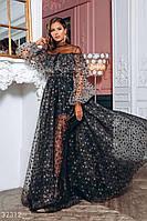 Длинное вечернее платье-макси из воздушной ткани