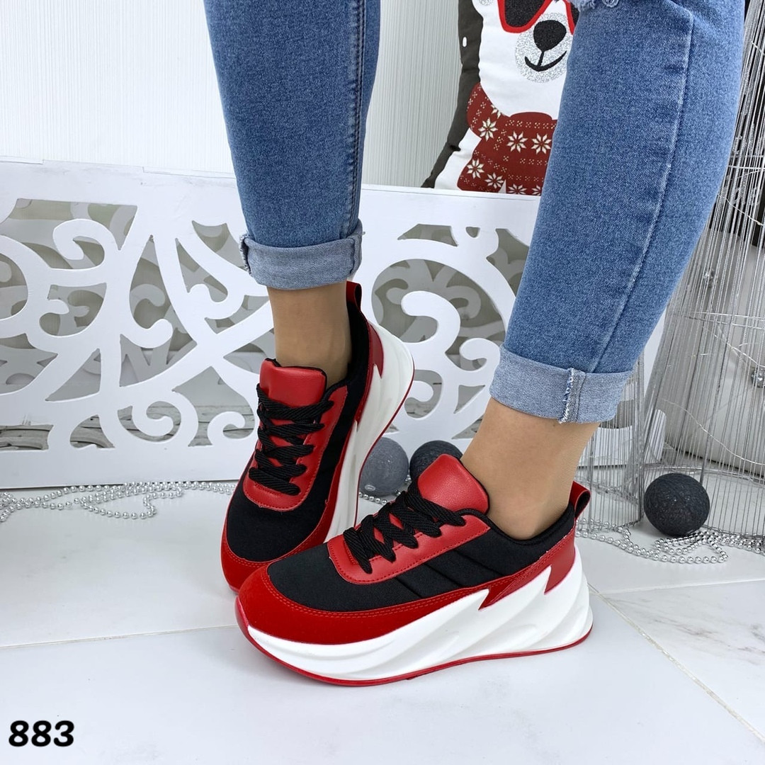 Кроссовки женские черный+красный бренд 883