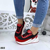 Кроссовки женские черный+красный бренд 883, фото 1