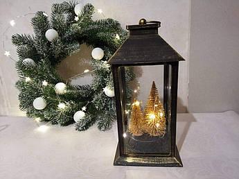 Ліхтар новорічний, з золотими ялинками.