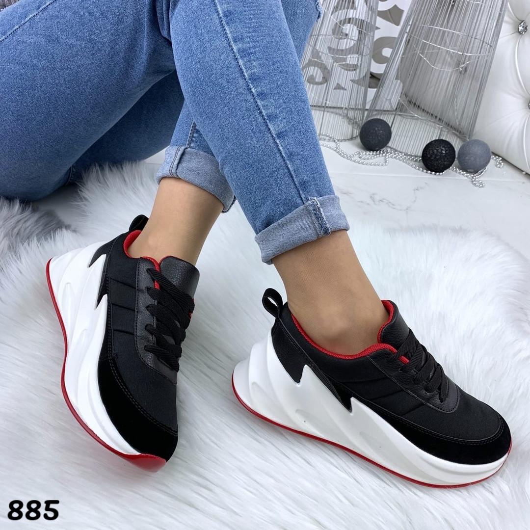 Кроссовки женские черные под бренд 885