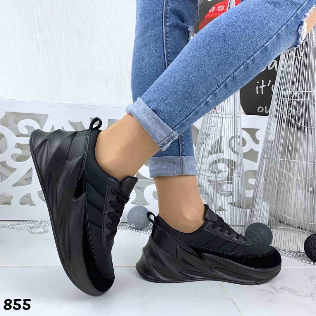Кроссовки женские черные под бренд 855