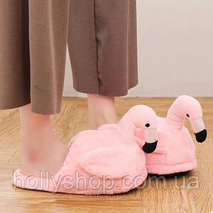 Домашние плюшевые тапочки Фламинго без задника розовые